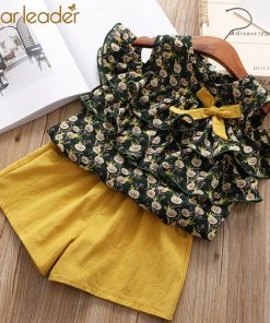 Bear Leader Girls Clothing Sets 2018 Summer New Girl Dandelion Chiffon Cake Off Shoulder Shirt Top + Cotton Shorts 2PCS Sets
