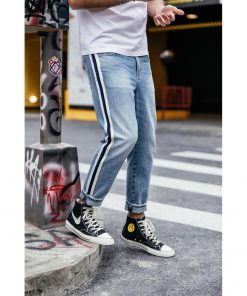 SIMWOOD 2019 Jeans Men Fashion Track Neon Striped Loose Denim Pants Casual Ankle-Length Plus Size  High Quality Clothing 190032 1