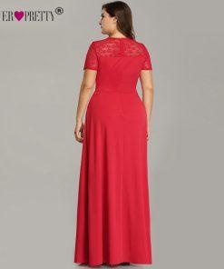 Plus Size Evening Dresses With Sleeve Ever Pretty EZ07553RD Elegant A Line V Neck Long Party Gowns Robe De Soiree Longue 2018 1