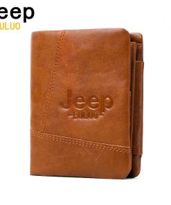 JEEP BULUO Women Men Wallets Natural Genuine Cow Leather Short Bifold Purse RFID Blocking Tri-Folds Card Wallet For Man Ladies 1