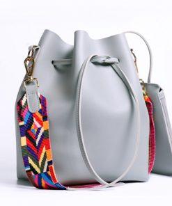 DAUNAVIA Women bag with Colorful Strap Bucket Bag Women PU Leather Shoulder Bags Brand Designer Ladies Crossbody messenger Bags 1