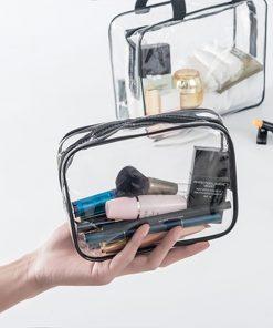 Women Travel PVC Cosmetic Bags Transparent Clear Zipper Men Makeup Bags Organizer Beauty Toiletry Bag Bath Wash Make Up Case 1