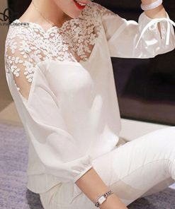 Bella Philosophy 2019 Spring Solid Lace Women Blouse 34 Sleeve Lace Hollow Casual Chiffon Women Shirt Sexy Backless Lady Blouse