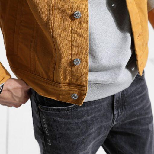 SIMWOOD Denim Jacket Men Fashion 100% Cotton Trucker Jackets Slim Fit Embroidery Chest Pocket 4 Colors Spring Coats 180468 3