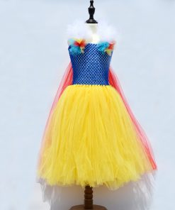 Yellow Princess Girl Snow-white Tutu Dress Fluffy Girl Tulle Dress for Birthday Pageant Kids Party Dresses Carnival Ball Gown 1