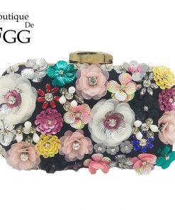 Boutique De FGG Socialite Women Flower Evening Bags Wedding Party Bridal Beaded Purse Crystal Clutch Handbag