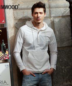 SIMWOOD 2019 Spring New Hoodies Men Fashion Male Clothing White Slim Fit Brand Jacket High Quality WJ1666