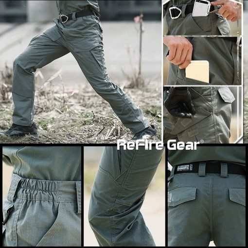 ReFire Gear Rip-Stop Cotton Waterproof Tactical Pants Men Camouflage Military Cargo Pants Man Multi Pockets Army Combat Trousers 5