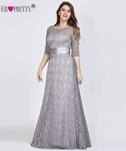 Elegant Plus Size Evening Dresses Long 2019 Ever Pretty EP08878GY A-line Lace Half Sleeve Grey Formal Party Gowns for Wedding 1