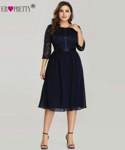 Ever Pretty Burgundy Plus Size Cocktail Dresses EZ07641 Women's Elegant Half Sleeve Lace A-line Knee Length Elegant Party Gowns 1