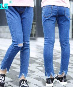 A15 Skinny Ripped Jeans for Girl Kids Jeans Girl Leggings Jeans Kids Pants Children Trousers Kid Girl Denim Pants Age 8 10 12 14 1