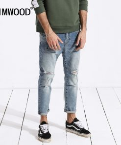 SIMWOOD jeans men hip hop fashion ripped hole skinny Ankle-length denim pants slim fit streetwear men clothes 2019 summer 180217
