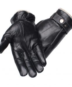 Gours Men's Genuine Leather Gloves Fashion Black Touch Screen Sheepskin Finger Gloves with Wool Lining Warm In Winter New GSM053 1