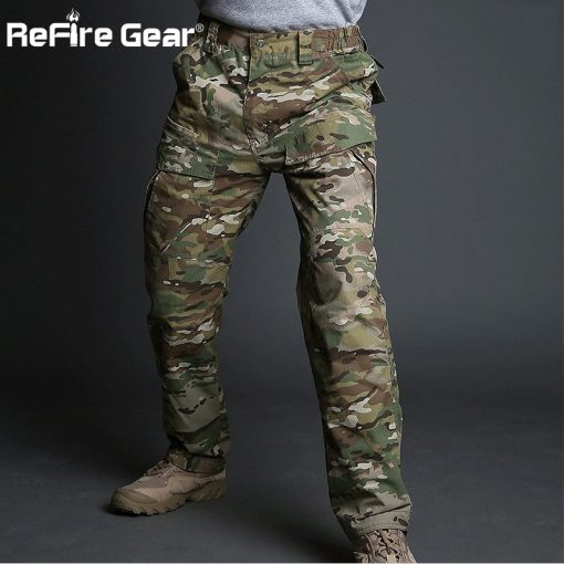 ReFire Gear Rip-Stop Cotton Waterproof Tactical Pants Men Camouflage Military Cargo Pants Man Multi Pockets Army Combat Trousers 4