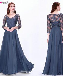 Long Sleeve Autumn Winter Evening Dresses Ever Pretty EZ07633 Women's Cheap Lace Appliques V-neck Formal Elegant Party Dresses 1