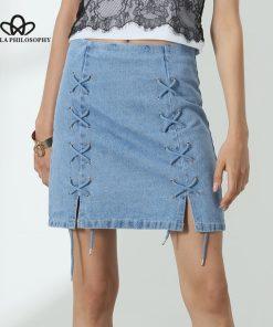 Bella Philosophy 2018 summer women denim lace-up sky navy blue skirt