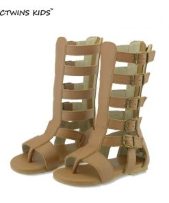 CCTWINS KIDS girls sandal children knee high gladiator sandal baby summer sandal for girl children real leather boot sandal B156