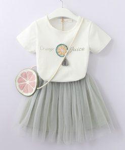 Bear Leader Girls Clothing Sets 2018 Summer Children dresses White T-Shirt +Short skirt +small bag 3Pcs Suit Brand Kids Clothes 1