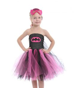 Super Hero Batgirl Girl Tutu Dress with Mask Kids Party Dresses for Halloween Girls Children Cosplay Costume Princess Prom Dress 1