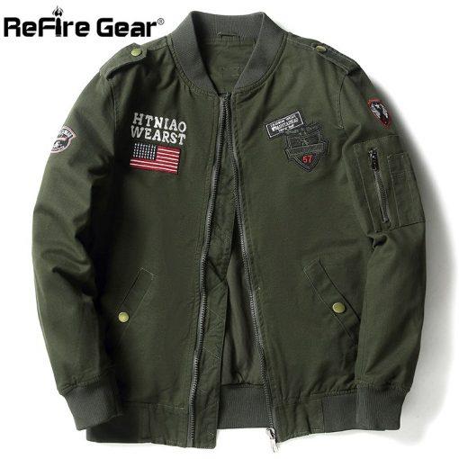 ReFire Gear Tactical Air Force Military Bomber Jacket Men Autumn Cotton Flight Pilot Army Jacket Motorcycle Cargo Coat Jackets 2