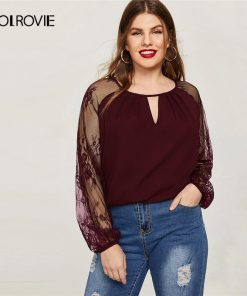 COLROVIE Plus Size Burgundy Embroidery Lace Keyhole Neck Elegant Blouse Women Tops 2019 Spring Office Vintage Long Sleeve Shirt