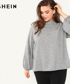 SHEIN Plus Size Pearl Beaded Long Lantern Sleeve Casual Women Grey Blouse 2018 Solid Stand Collar Autumn Work Top Blouse