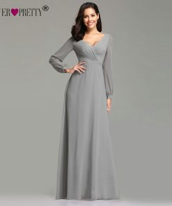Mother Of The Bride Dresses Ever Pretty EZ07761 Elegant Long Sleeve Chiffon A-line Grey Mother Of The Bride Robe 2019 Party Gown