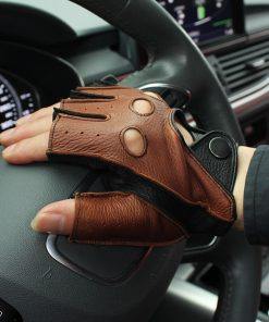 Gours Spring Men's Genuine Leather Gloves Driving Unlined 100% Deerskin Half Fingerless Gloves Fingerless Fitness Gloves GSM046L 1