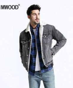 SIMWOOD Denim Jackets Men Shearling Collar Trucker  Jacket Warm Fleece Coats Winter New Casual Outwear Plus Size Clothes 180471
