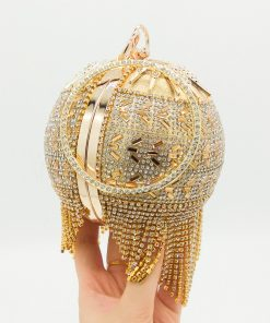 Boutique De FGG Round Circular Gold Diamond Tassel Bridal Handbag Wedding Wristlets Purse Women Evening Party Crystal Clutch Bag 1