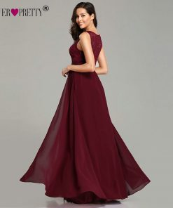 Elegant Prom Dresses Long 2018 Ever Pretty EZ07695 Women's Sexy A-line Sleeveless O-neck Chiffon Lace Cheap Evening Party Gowns 1