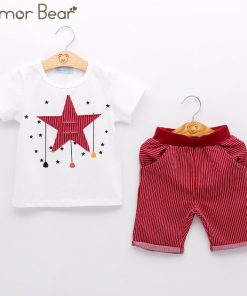 Humor Bear Kids Clothes New Boy Clothing Sets Cartoon Stars Design T-shirt+ Shorts 2PCS Sets Boys Clothes Children Clothes