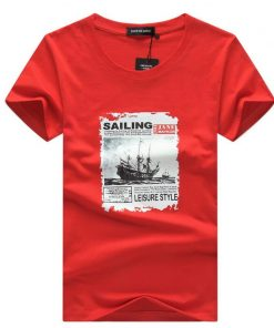 SWENEARO Men's T-Shirts Summer Fashion Sailing Print Funny T-Shirt Men TShirt Casual Hip Hop O-Neck Short Sleeve tee shirt Male 1