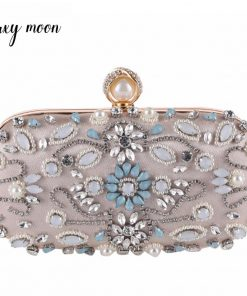Luxy Moon Crystal Evening Bags Pearls Beaded Day Clutch rhinestone Purse Handbags Wallet Evening purse party Bag ZD848