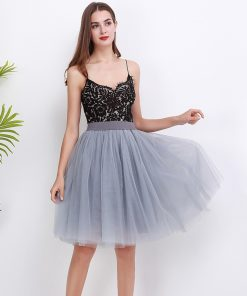 5 Layers 60cm Princess Midi Tulle Skirt Pleated Dance Tutu Skirts Womens Lolita Petticoat Jupe Saia faldas Denim Party Skirts  1