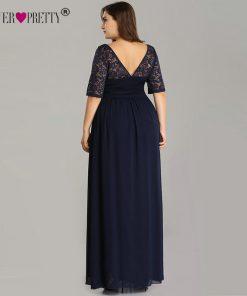 Plus Size Mother Of The Bride Dresses Ever Pretty EZ07624NB Elegant A Line Long Lace Formal Evening Gowns Robe De Soiree 2018 1