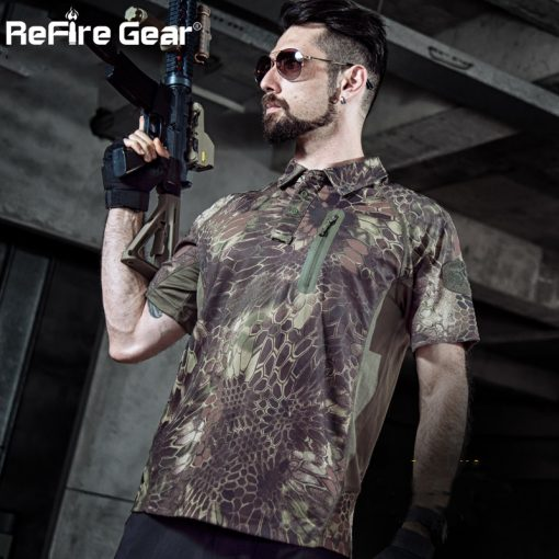ReFire Gear Men's Tactical Military T Shirt Summer Army Force Camouflage T-shirt for Man Breathable Pocket Short Sleeve T Shirts 4