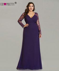 Robe De Soiree 2019 New Ever Pretty Purple Long Sleeve Lace A-line Chiffon Long Party Gowns Elegant Plus Size Evening Dresses