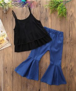 Humor Bear Baby Girls Clothes Sets 2019 Summer Black Sling Sleeveless Tops Shirts + Blue Flare Pants Casual Kids's Clothing Suit
