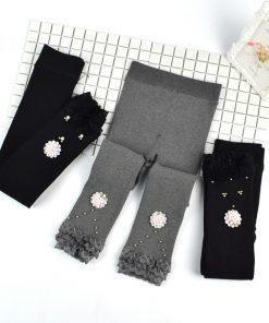 New Children Plus Velvet Leggings Winter Flower Girl Lace Pencil Pants Thicken Warm Long Trousers for Kids Toddler Skinny Pants