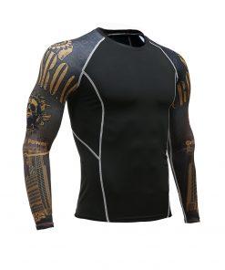 Fitness Men Pro Compression Shirts MMA Rashguard Skin Base Layer Workout Long Sleeves T-shirt Crossfit Jiu Jitsu Tee Shirt homme 1
