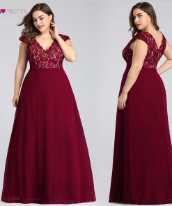 Plus Size Prom Dresses Long 2019 Ever Pretty EP07344 Elegant Burgundy A-line Sleeveless Lace Appliques V-neck Vestidos De Gala 1
