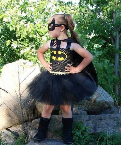 Batman Kids Halloween Party Dresses for Girl Girls Tutu Dress with Mask Baby Christmas Superhero Cosplay Costume Girl Dresses 1