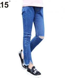 A15 Skinny Ripped Jeans for Girl Kids Jeans Girl Leggings Jeans Kids Pants Children Trousers Kid Girl Denim Pants Age 8 10 12 14
