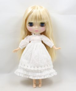 flower dress for 1/6 doll lace & bow & flower, white ear, white headdress, lace white dress 1
