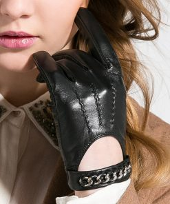 Gours Fall and Winter Women Genuine Leather Gloves Fashion Brand Black Short Driving Glove Metal Chain Goatskin Mittens GSL008 1