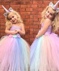 Children Girl Rainbow Tutu Dress Princess Unicorn Tutu Dresses for Little Girls Dress Up Fancy Tutus Baby Clothing Christmas