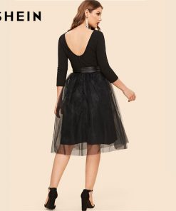 SHEIN Black Bow Tie Waist Mesh Overlay Highstreet Fit and Flare Elegant Dress Lace A-line Backless Belted Skinny Women Dress  1