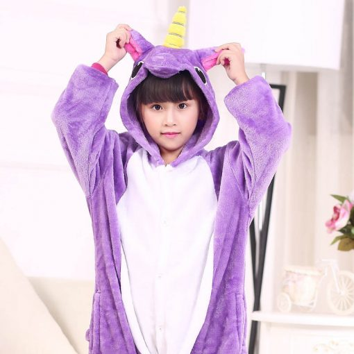 EOICIOI Kids Pajamas Flannel Animal Pegasus Stitch Unicorn Cosplay Pyjamas For Boys Girls Winter Warm Children Sleepwear Onesies 1