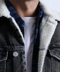 SIMWOOD Denim Jackets Men Shearling Collar Trucker  Jacket Warm Fleece Coats Winter New Casual Outwear Plus Size Clothes 180471 1